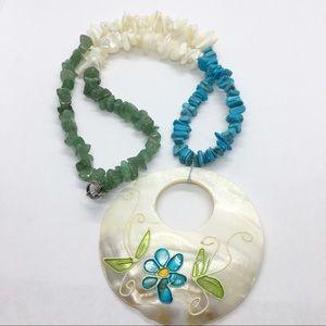 Gem Stone Boho Necklace Large Shell Pendant Beaded